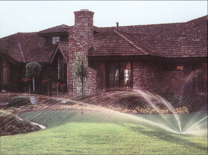 Front lawn of a home with TradeWind-installed sprinkler system